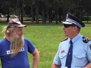 Activists & police at the January picnic
